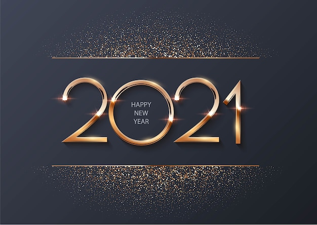 Happy new year 2021 with golden particles Premium Vector