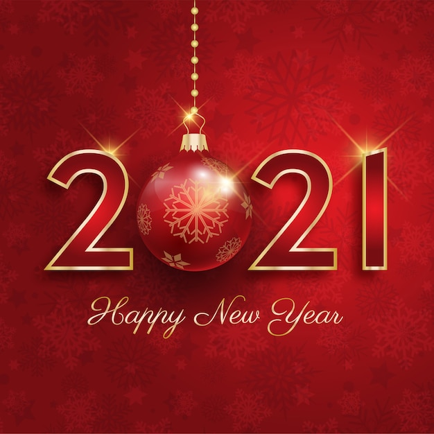 Happy new year 2021 with hanging bauble Free Vector