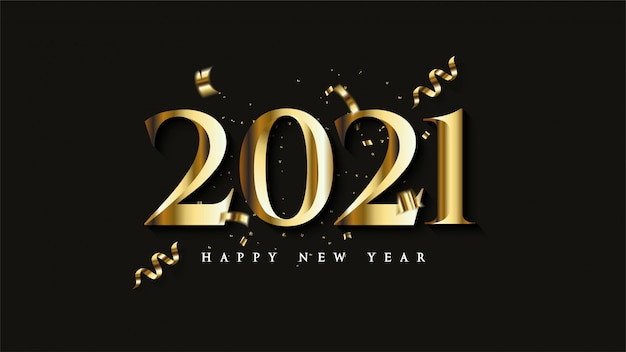 Happy new year 2021, with illustrations of gold figures with pieces of gold colored ribbon ...