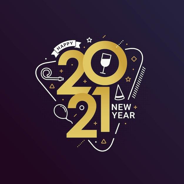レタリングタイポグラフィスタイルで新年あけましておめでとうございます2021 Premiumベクター