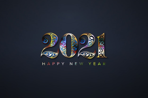 Premium Vector | Happy new year 2021 with luxury colorful number