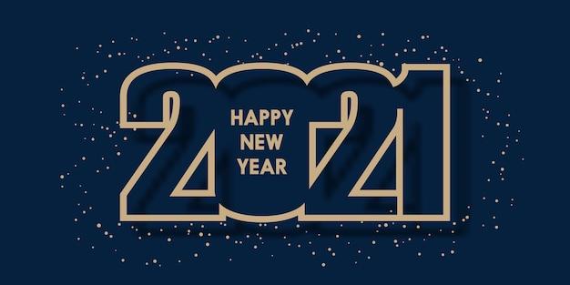 С новым годом 2021 с дизайном номера Бесплатные векторы