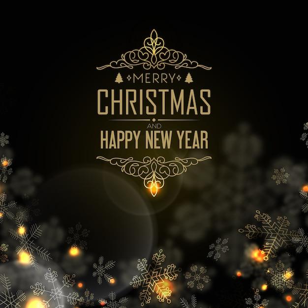 이브, 촛불 및 블랙에 많은 창조적 인 눈송이와 함께 행복 한 새 해와 크리스마스 엽서 무료 벡터