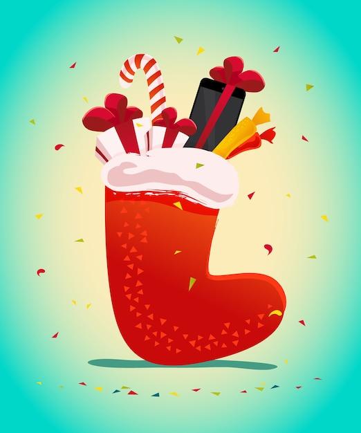 새 해 복과 메리 크리스마스 선물, 전통적인 선물 양말 가방 그림에서 선물. . 태블릿 및 스마트 폰. 겨울 판매 배너 요소입니다. 프리미엄 벡터