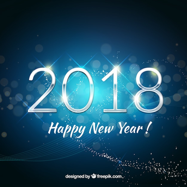 happy new year background 2018 in blue tones free vector