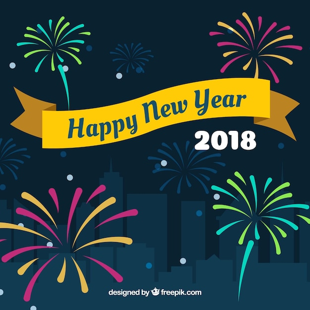 happy new year background 2018 with fireworks free vector