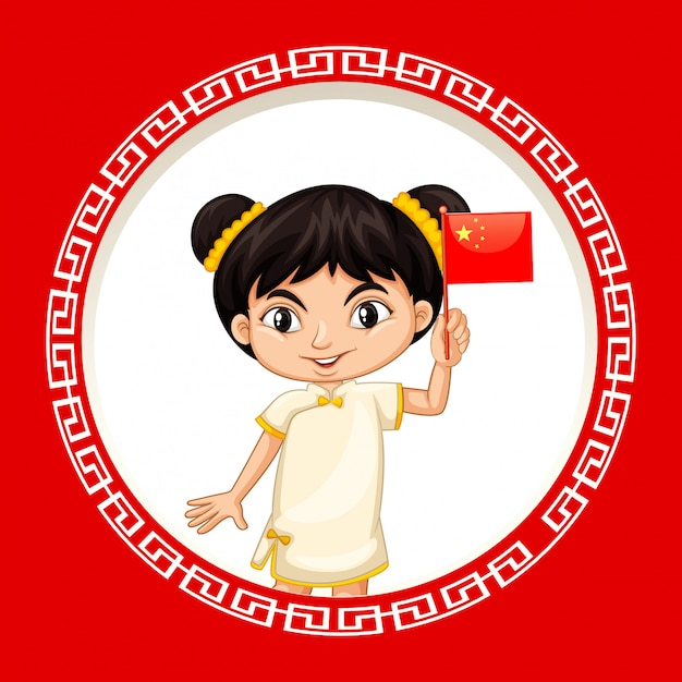 Happy new year background design with chinese girl Free Vector