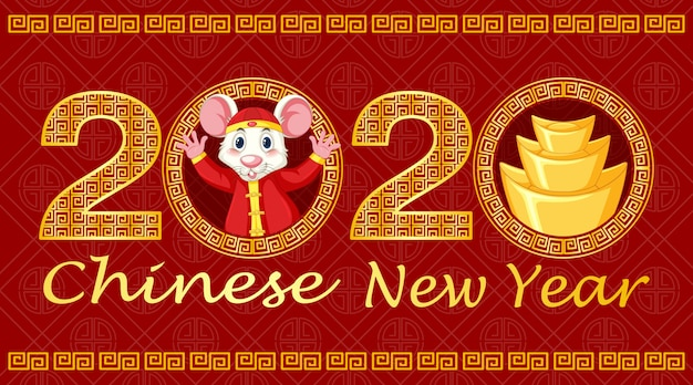 Happy new year background design with rat Free Vector