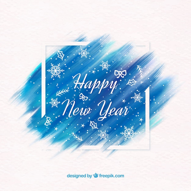 Happy new year background in watercolour