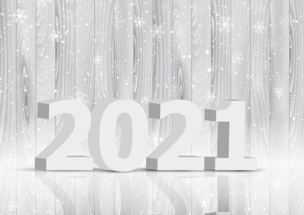 Happy new year background with 3d letters on wooden texture design Free Vector