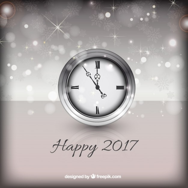 happy new year background with a silver clock free vector