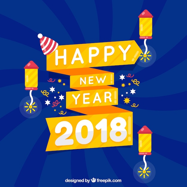 happy new year background with a yellow ribbon free vector
