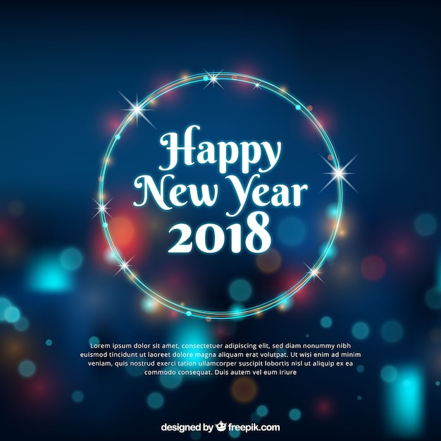 happy new year background with bokeh effect free vector