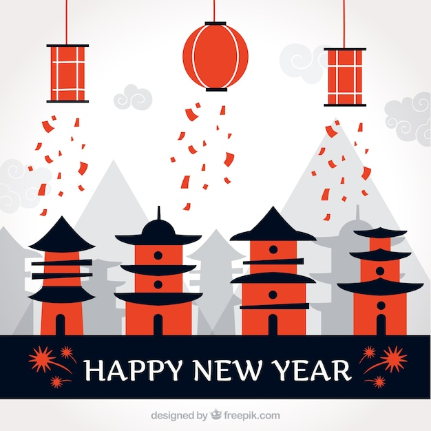 Happy new year background with chinese houses and lanterns