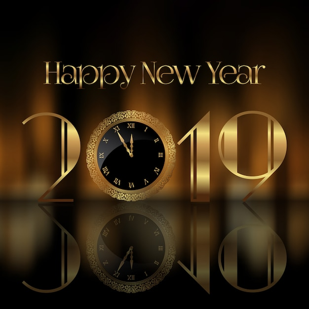 happy new year background with clock face free vector