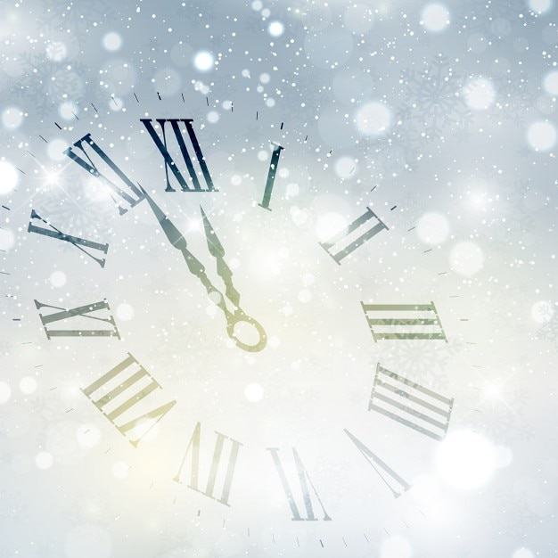 happy new year background with clock free vector