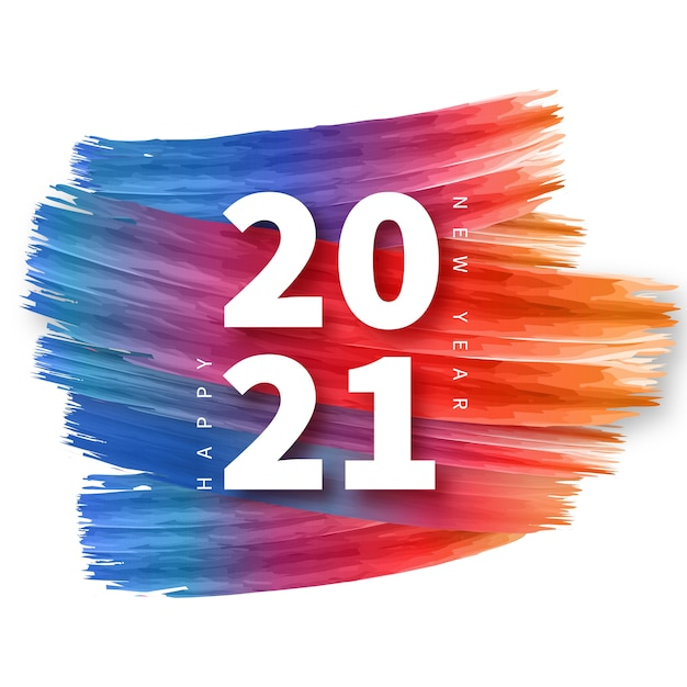 Happy new year background with colorful brush stroke frame Free Vector