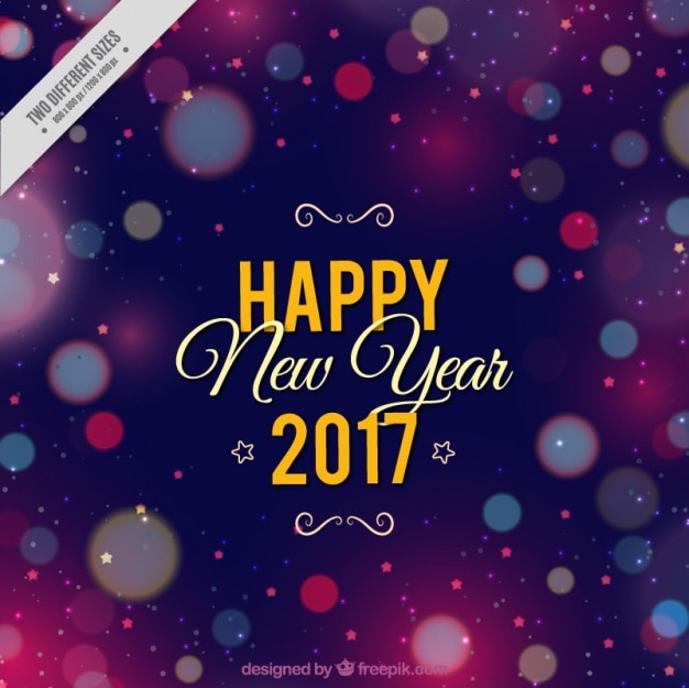 Happy new year background with colorful shiny shapes Free Vector