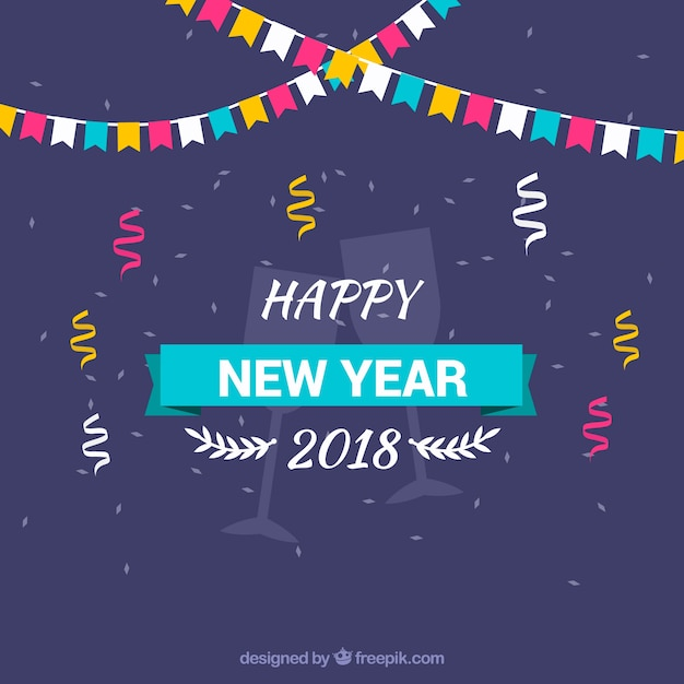 happy new year background with colourful flags and confetti stock images page everypixel