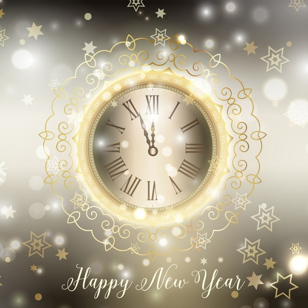 Happy new year background with decorative clock Vector | Free Download