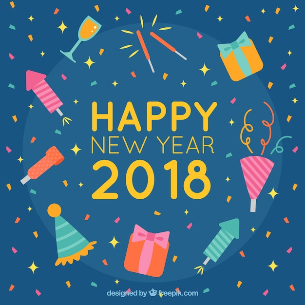 happy new year background with elements of celebration free vector
