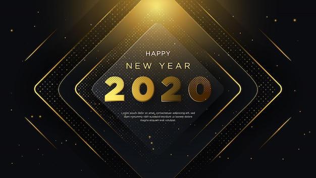 Happy new year background, with fancy design and 3d Premium Vector