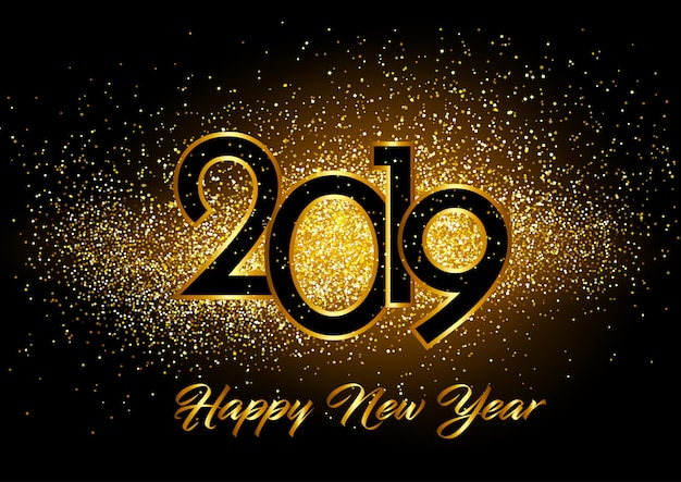 happy new year background with glitter effect free vector