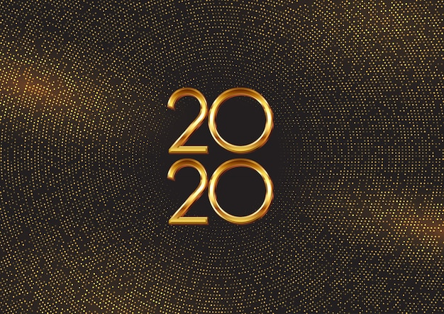 Happy new year background with gold dots and numbers Free Vector