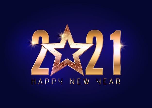 С новым годом фон с золотыми буквами и звездным дизайном Бесплатные векторы