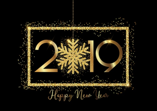 Happy new year background with gold lettering and glittery snowflake design Free Vector
