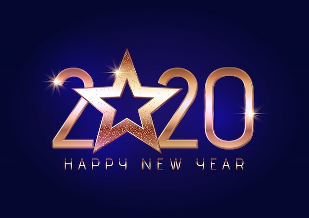 Happy new year background with gold lettering and star Free Vector