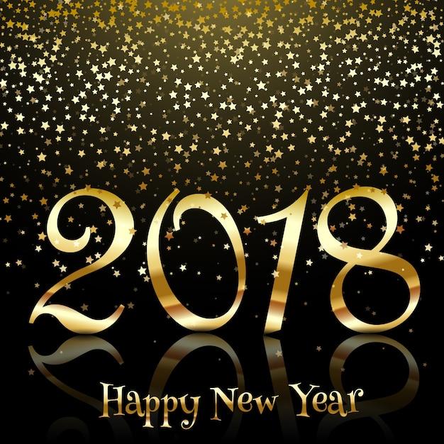 Felice anno nuovo sfondo con stelle d'oro Vettore gratuito