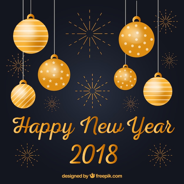 happy new year background with golden decorations free vector