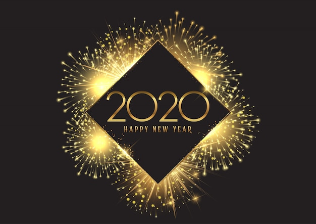 Happy new year background with golden fireworks Free Vector