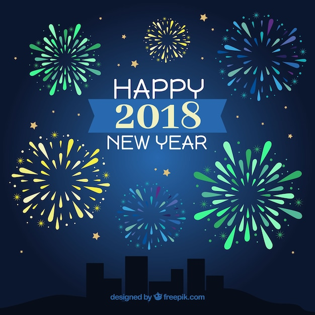 happy new year background with green yellow and blue fireworks stock images page everypixel