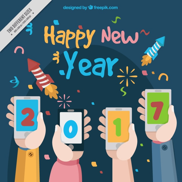 happy new year background with hands holding mobiles