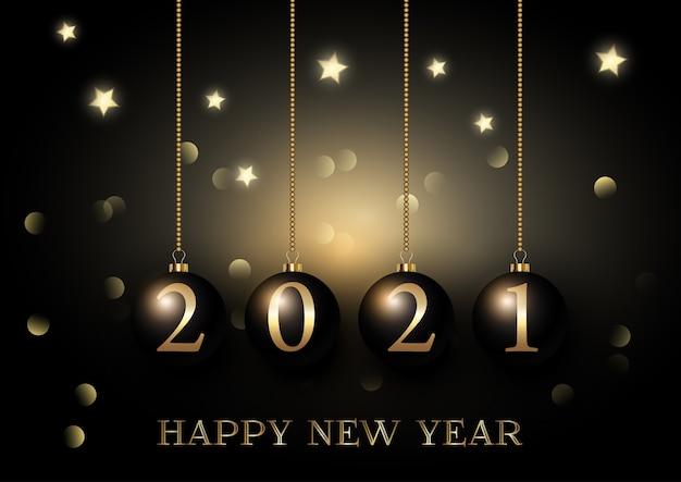Felice anno nuovo sfondo con palline d'attaccatura su bokeh luci e stelle design Vettore gratuito