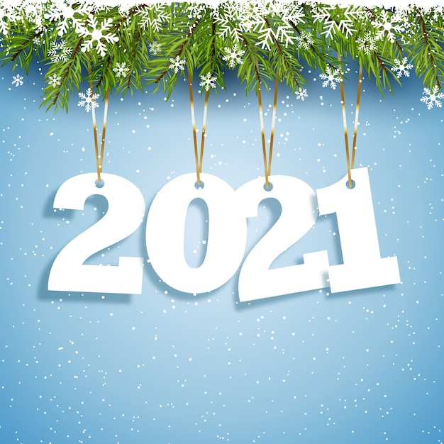 Happy new year background with hanging numbers design Free Vector
