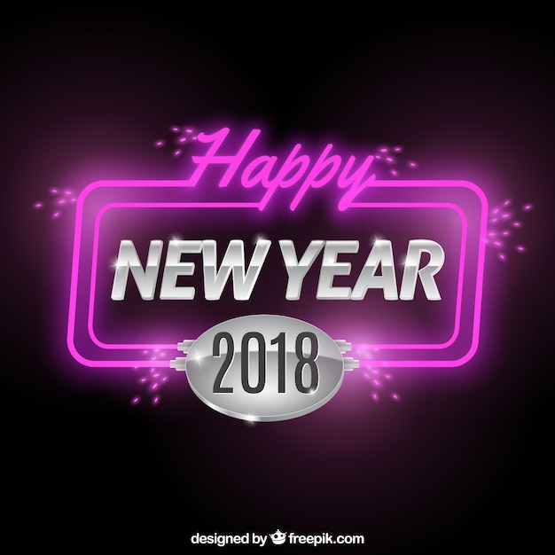 Happy new year background with neon\ lights