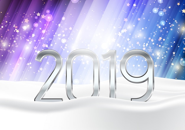 happy new year background with numbers nestled in snow free vector
