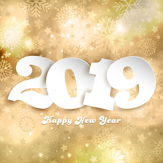 happy new year background with numbers on gold design free vector