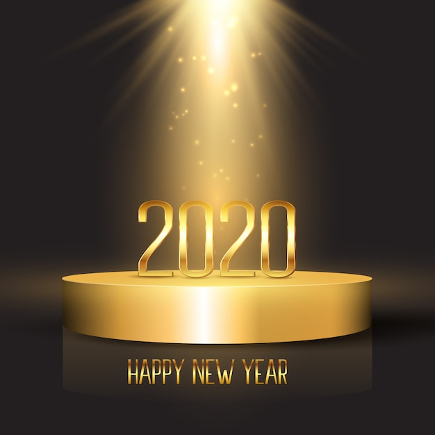 Happy new year background with numbers on podium display Free Vector