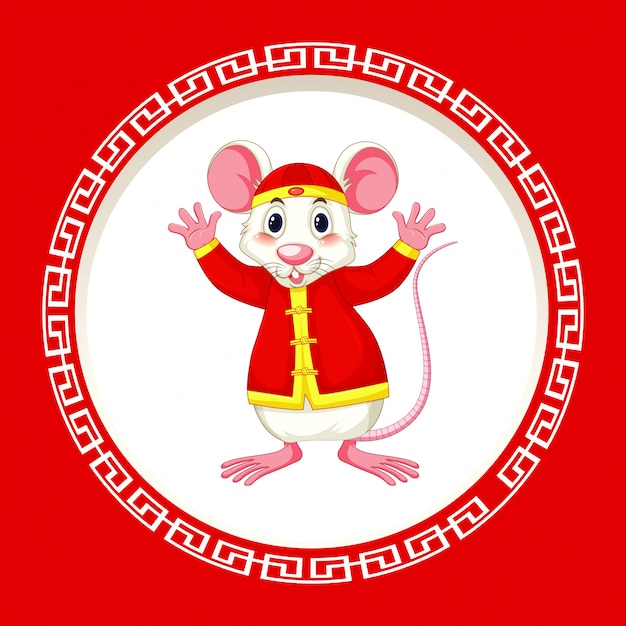 Happy new year background with rat Free Vector