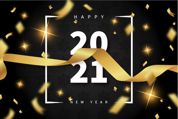 Happy new year background with realistic ribbon and 2021 text frame Free Vector