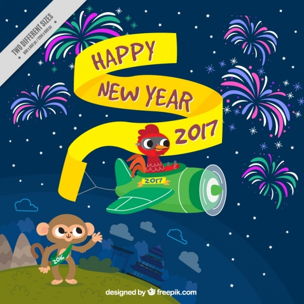 Happy new year background with rooster flying a\ small plane