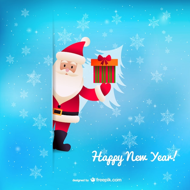 happy new year background with santa claus free vector