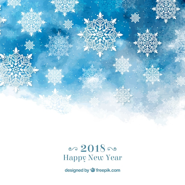 Happy new year background with snowflakes in blue watercolour