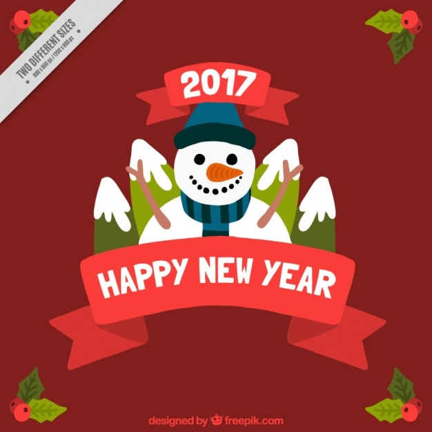 Happy new year background with snowman and mountains