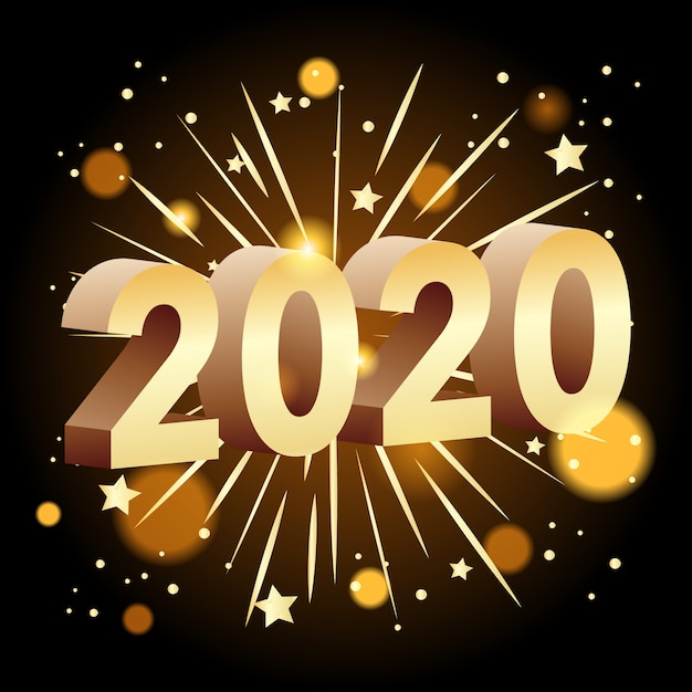 Happy new year  banner for 2020 Free Vector