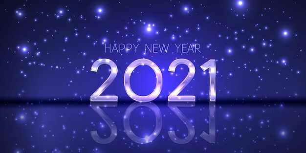 С новым годом баннер с современным сверкающим дизайном Бесплатные векторы